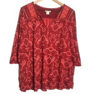 Lucky Brand Plus Size Red Printed Popover Top J781